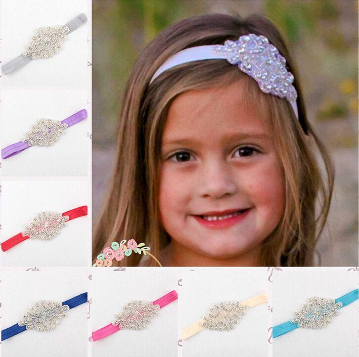 kids girls luxury shine diamond headbands flower girl wedding hair bands children hair accessories christmas boutique party decoration gift newborn girl
