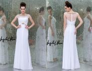 2015 Simple White Prom Dresses Line Bateau Short Sleeve