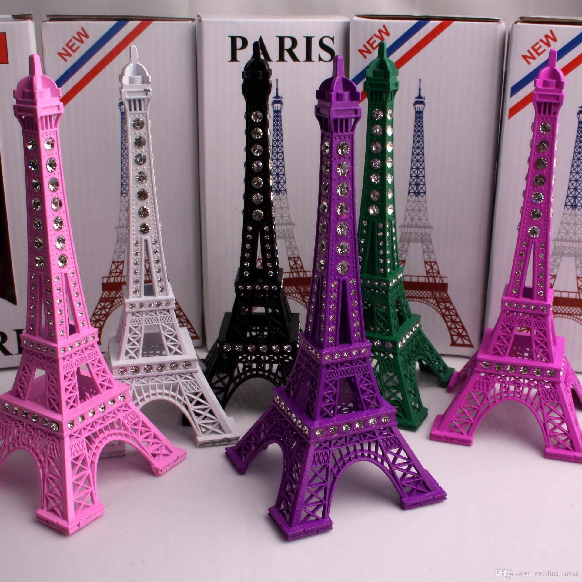 2018 18cm Crystal Rhinestone Eiffel Tower Model Alloy