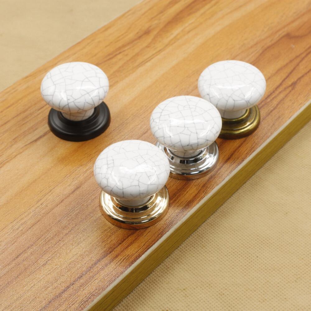 Crack Marble White Ceramic Single Door Knobpull with