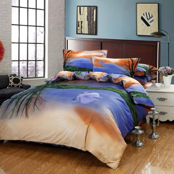 Designer Sunset Swan Oil Painting Bedding Bed Linens Egyptian Cotton Queen With Reversible Duvet