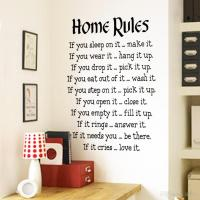 Home Rules Wall Sticker Quotes Home Decor Vinyl Art Decals ...