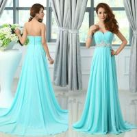 Stunning Teal Chiffon Dresses Light Blue Prom Dress A Line ...