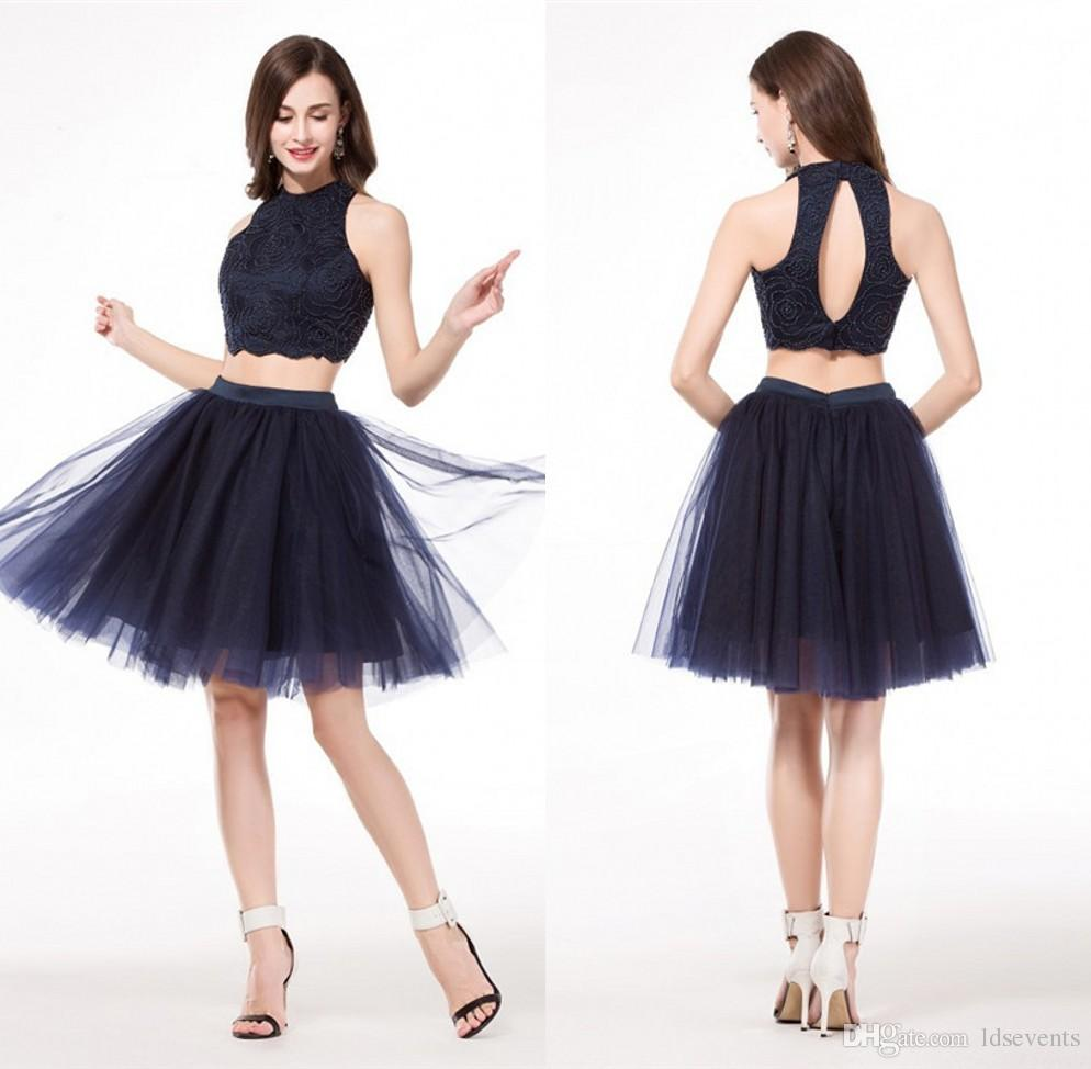 Homecoming Dresses Navy Blue Open Back 8th Grade