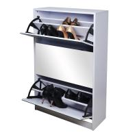 Mirrored Shoe Cabinet Rack Wooden Shoe Organizer Box with ...