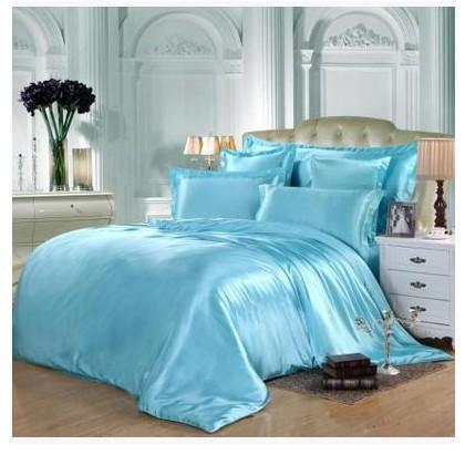 Aqua Silk Bedding Set Green Blue Satin Super King Size