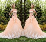 Peach Ball Gown Wedding Dress