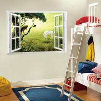 3d Window Wall Art Mural Sticker White Horse On The ...