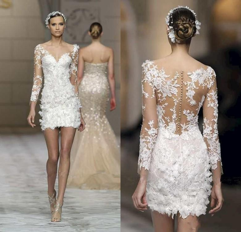 Short Beach Wedding Dresses 2016 Zuhair Murad Lace With