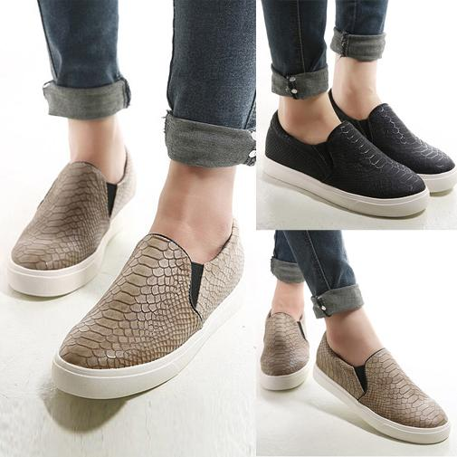 Womens Leather Slip On Sneakers