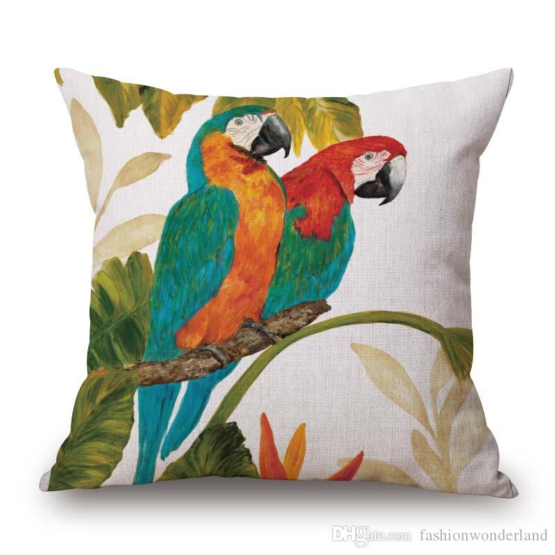 Parrot Birds Flower Cushion Covers Cherry Tree Butterfly