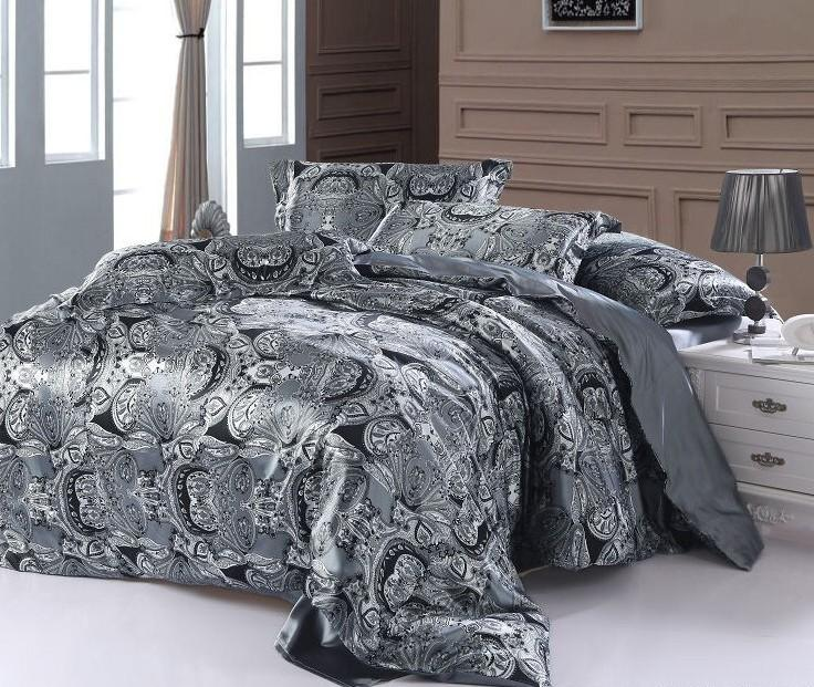 Paisley Bedding Set Super King Size Queen Double Silver