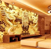 3D Golden Dragons Photo Wallpaper Woodcut Wall Mural ...