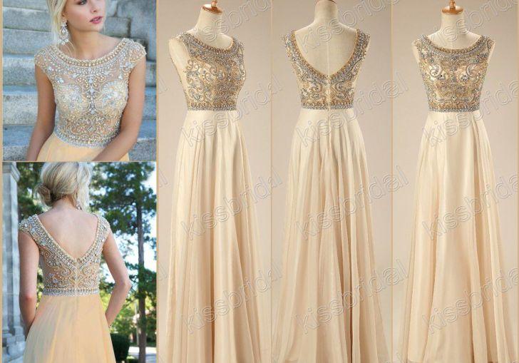 A Line Round Neck Long Prom Dress