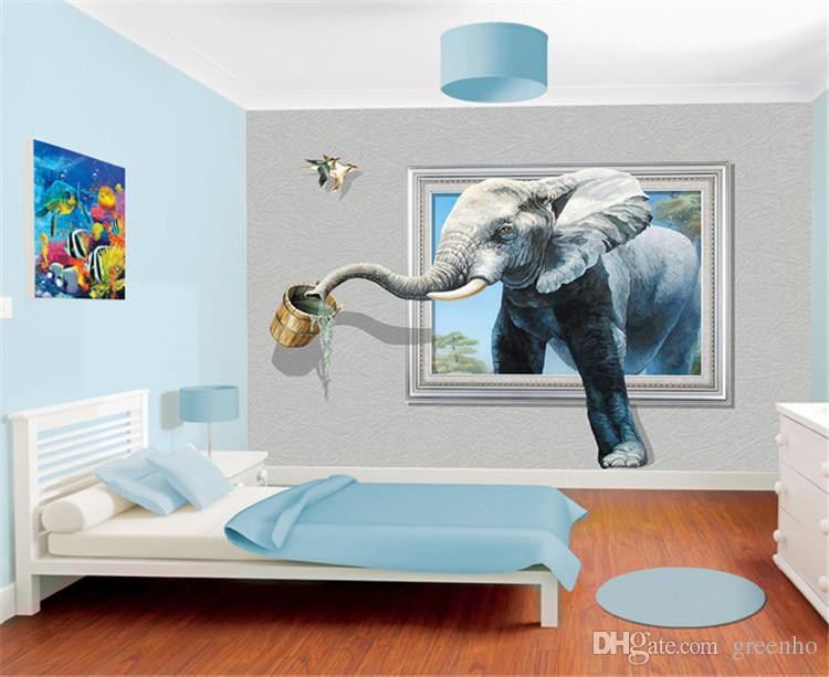 Girl Room Wallpaper And Fablic With Animal Creative 3d Photo Wallpaper Wall Mural Elephant Animal