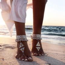 Barefoot Women Wearing Ankle Bracelets