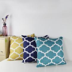 Pillow Covers For Living Room Interior Decorating Ideas Small Cotton Canvas Quatrefoil Accent Decorative Throw Pillows Square Sofa Print Cushion Cover 18x18gold Navy Teal