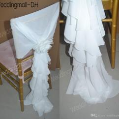 Wedding Chair Sash Accessories Bedroom Navy 2017 2015 Ivory Chiffon Ruffles 3d Flower Sashes