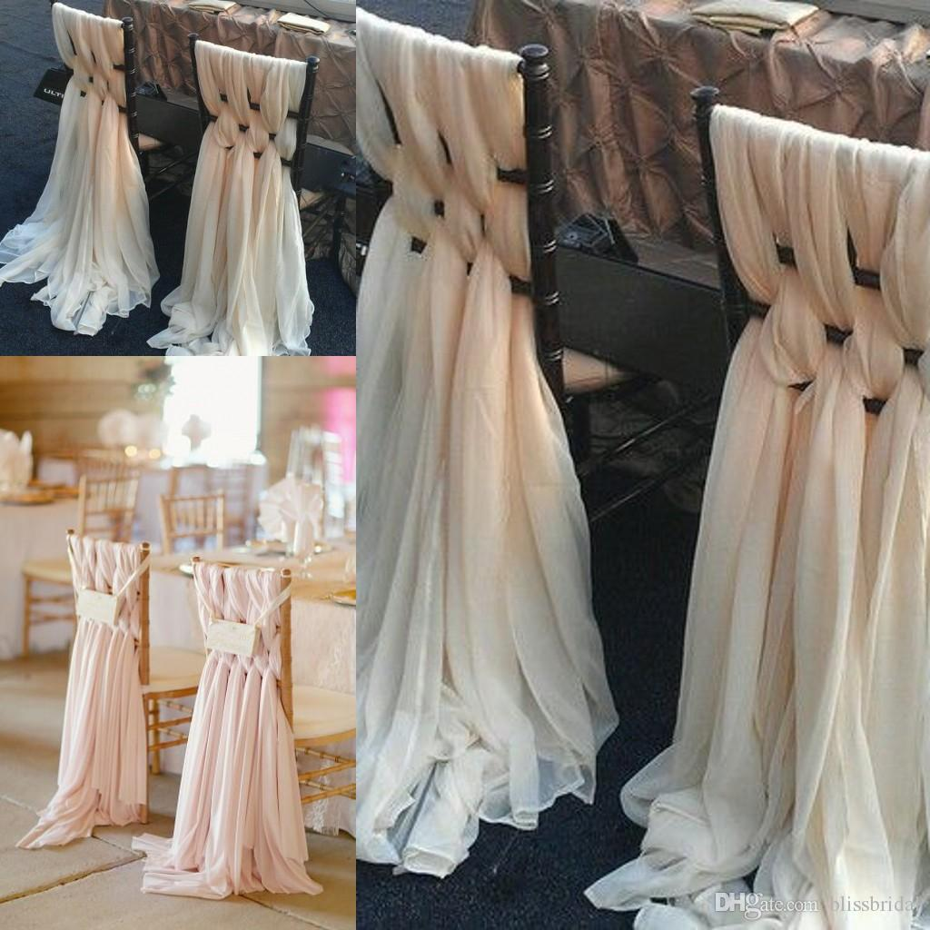 wedding chair sash posture work 2017 custom made pink chiffon diy covers and