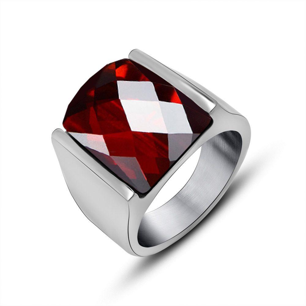 2017 Natural Garnet Mens Ring Steel Titanium Sapphire Ruby