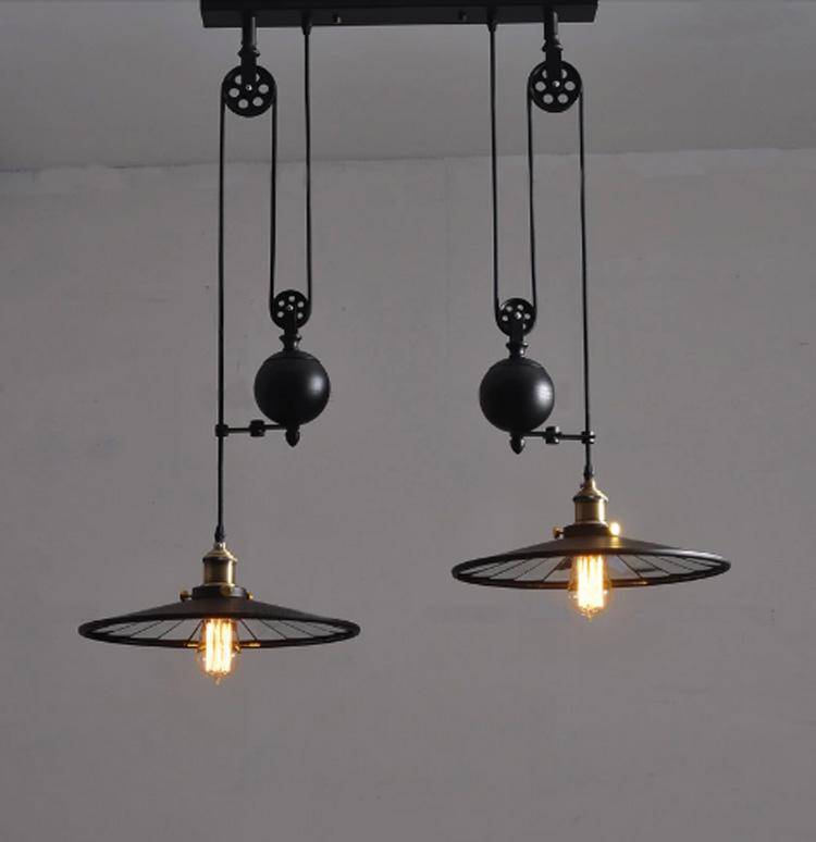 kitchen lamp vintage cabinet hardware with wheels retro black wrought iron chandelier e27 led home industrial light fixtures dining room pendant lampe