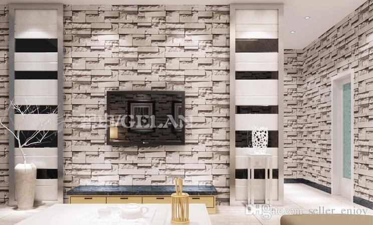 3d Slate Effect Wallpaper Chinese Style Dining Room 3d Wallpaper Stone Brick Design