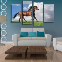 2018 4 Panels Horse Art Large Picture Frames Wall Painting