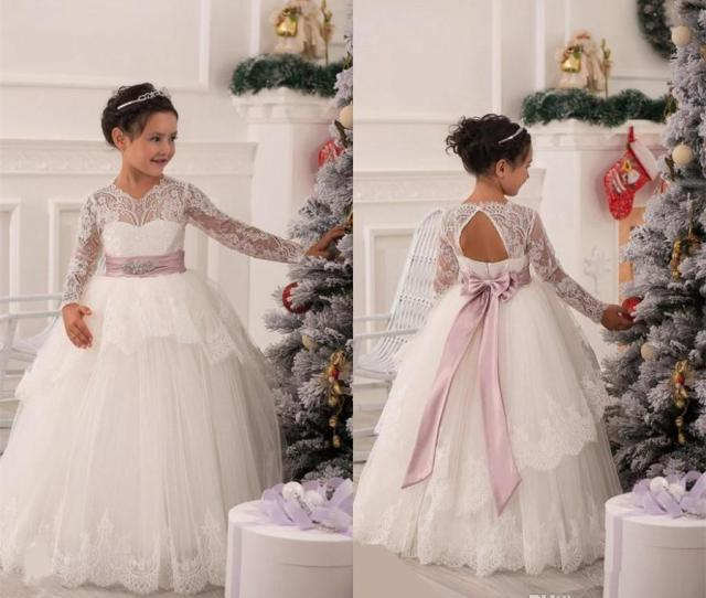 Long Sleeve Flower Girl Dresses Wedding Gowns Bow Sash Beads Peplum White Lace Pageant Dresses Kids Formal Wear Princess Communion Dresses Shoes For Girls