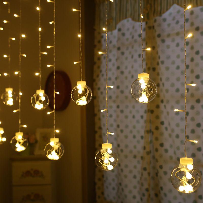 AC 220v 3M Transparent Ball String Lights Window Hanging