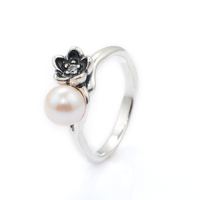 Online Cheap Pandora Silver White Pearl Flower Rings 925