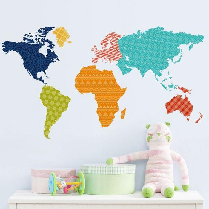 Color World Map Wall Stickers Colorful World Map Sticker