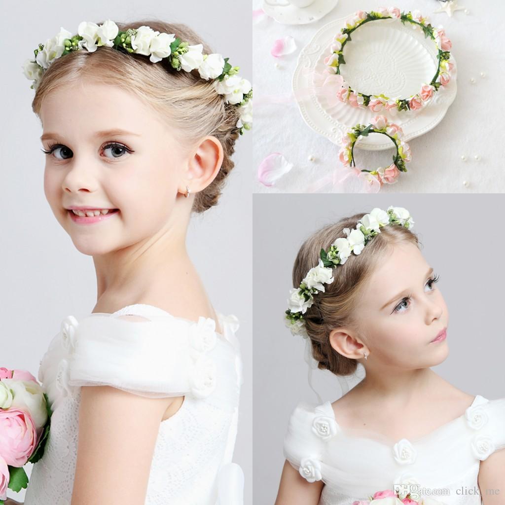 2016 hot wedding bridal girl head flower crown headband pink white rattan garland hawaii flower one piece headpieces hair accessories hair bobbles hair