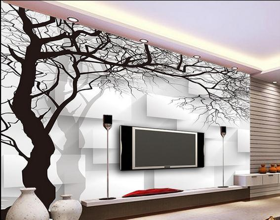 Gambar Wallpaper Dinding 3d Wall Paper Black And White Tree Box Non Woven Wallpaper