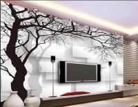 Wall Paper Black And White Tree Box Non Woven Wallpaper ...