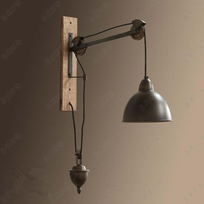 wall lamps for living room teal gray with brown leather couch 2 2019 novelty retro pulley lamp bedroom bar indoor lights rustic industrial lighting sconce e27 bulb led abajur from