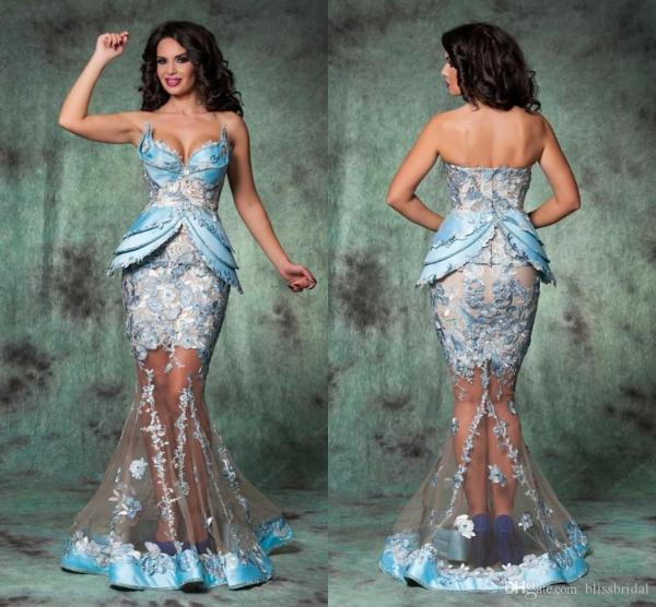 Size Mermaid Lace Tulle Evening Prom Dresses
