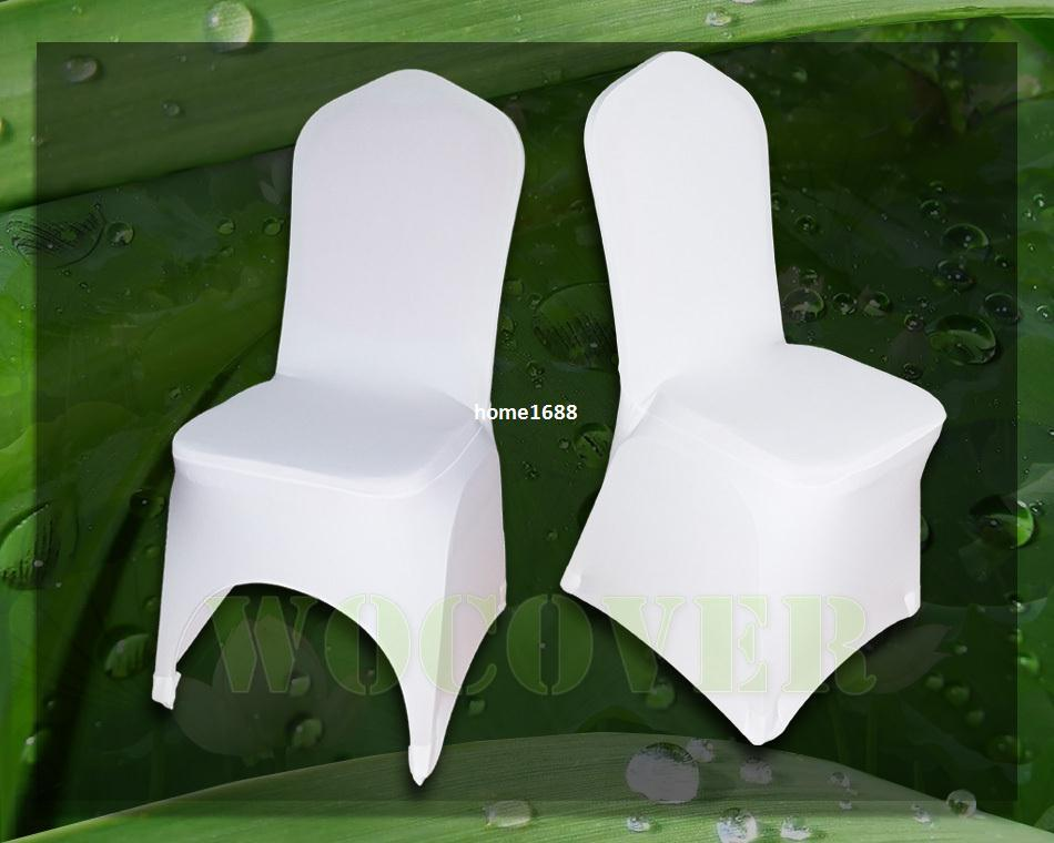 folding chair covers for wedding gold amazon 100 white spandex cover weddings party decorations banquet hotel seat kitchen chairs rentals