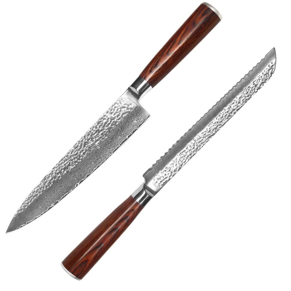 red kitchen knife set booths for home 8 inch chef bread knives 71 layers damascus steel hammer pattern cooking double beveled blade reviews large