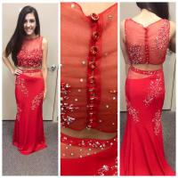 2015 Designer Crop Top Prom Dresses Sheath Beading Red ...