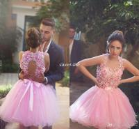 Cute Pink Short Prom Dresses Ball Gown Tulle Handmade ...