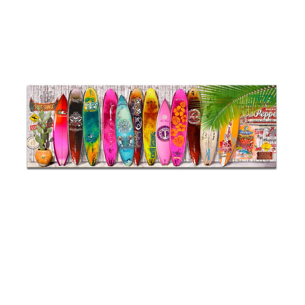 bright color summer surfboard canvas art modern surfing picture
