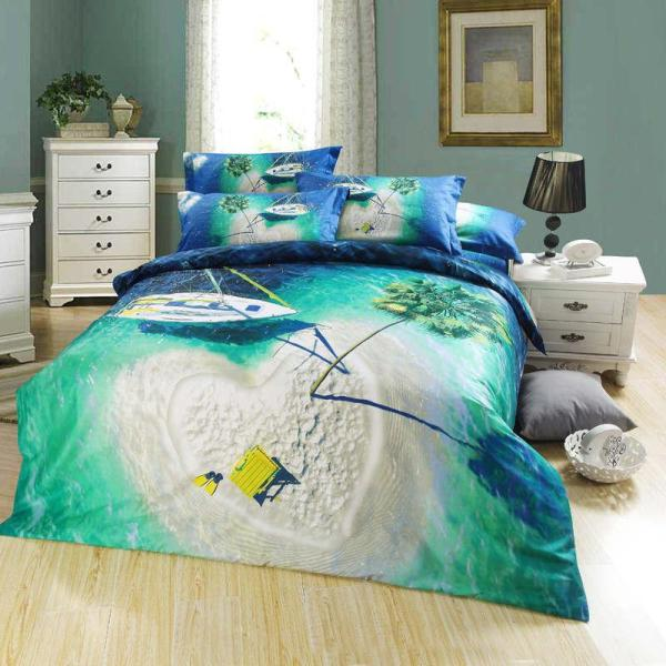 Designer Travelling Scenic Oil Painting Bedding Bed Linens Egyptian Cotton Queen Size 4