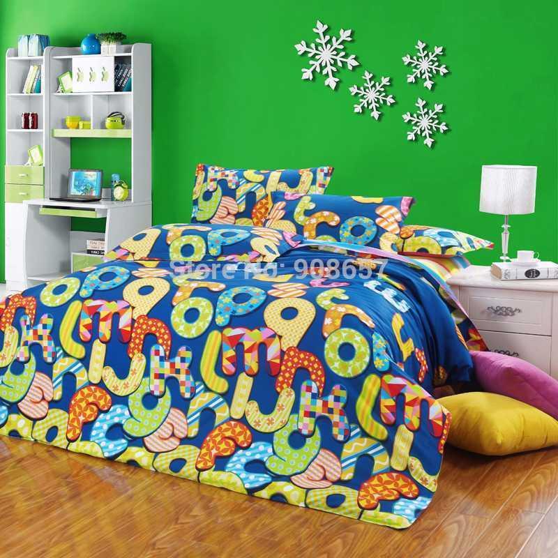 2017 Bright Colored Cotton Girl'S Bedding Set 4 Duvet