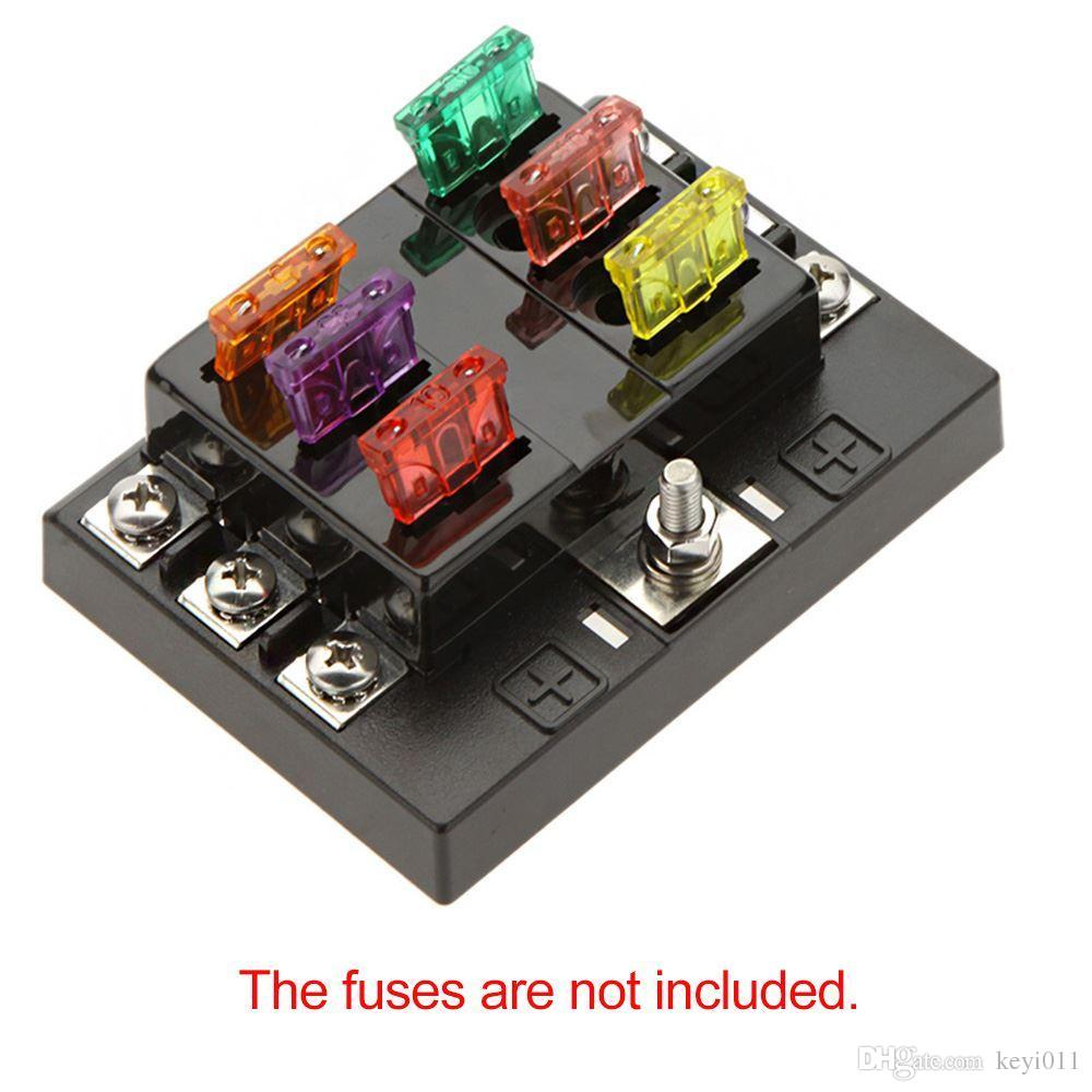 hight resolution of 2018 universal 6 way circuit car fuse box holder 32v dc waterproof blade fuse holder block