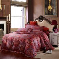 Egyptian Cotton Red Paisley Bedding Sets Luxury King Size