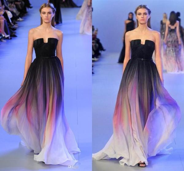2015 Elie Saab Ombre Pleats Belt Backless Gradient Prom