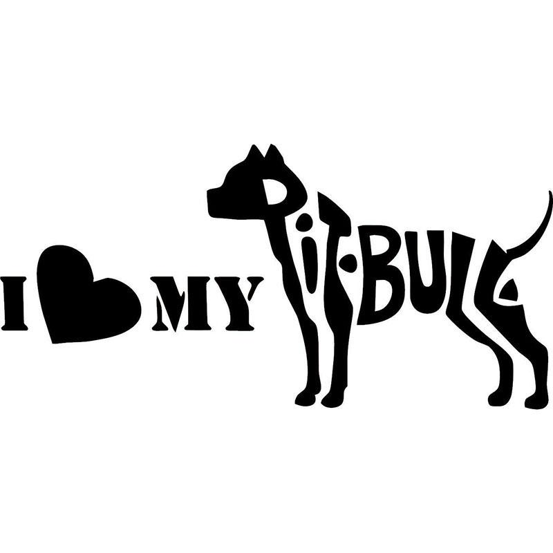 Download 2019 I Love My Pit Bull Silhouette Car Decal Vinyl Sticker ...