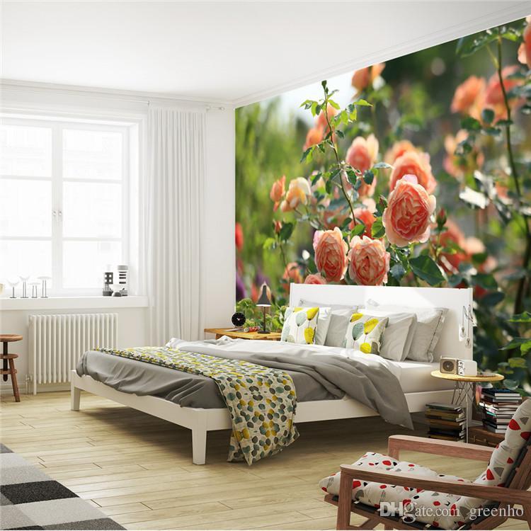 Romantic China Rose Photo Wallpaper Flowers Wall Mural