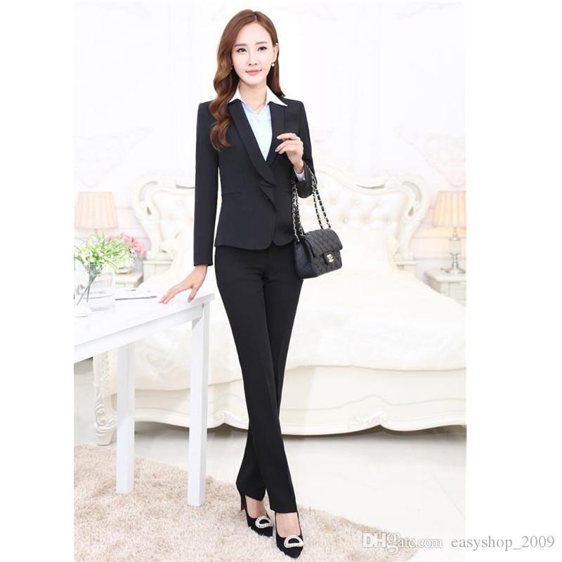 2020 Business Wear Womens Suits Long Sleeved Custom Formal Occasions Senior Work Clothes Two Piece Jacket Pants Custom Made From Easyshop 2009 81 64 Dhgate Com