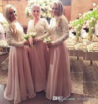 Pink Chiffon Muslim Bridesmaid Dresses For Wedding Hollow ...